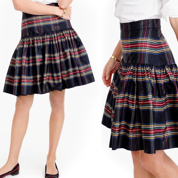 J. Crew Dresses & Skirts - J Crew Plaid Skirt 4 Taffeta Stewart Tartan Black